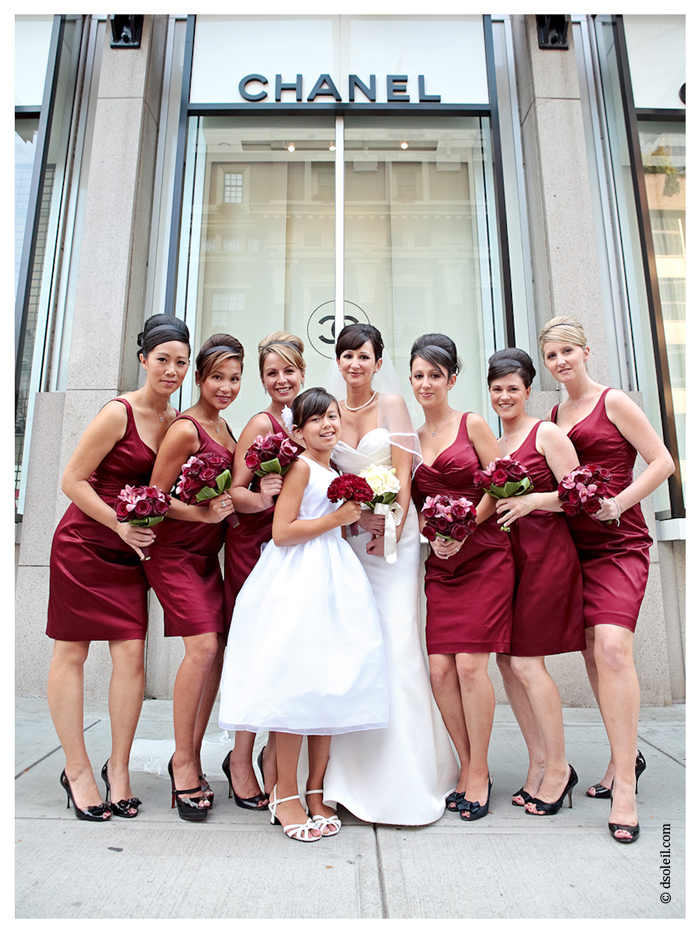 The bridesmaids in front of Chanel in downtown Vancouver