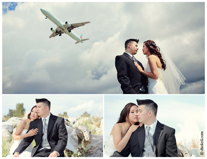 Richmond wedding photos with an airplane