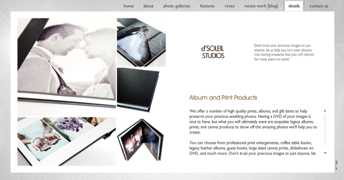 New Vancouver Wedding Photography website by d'Soleil Studios