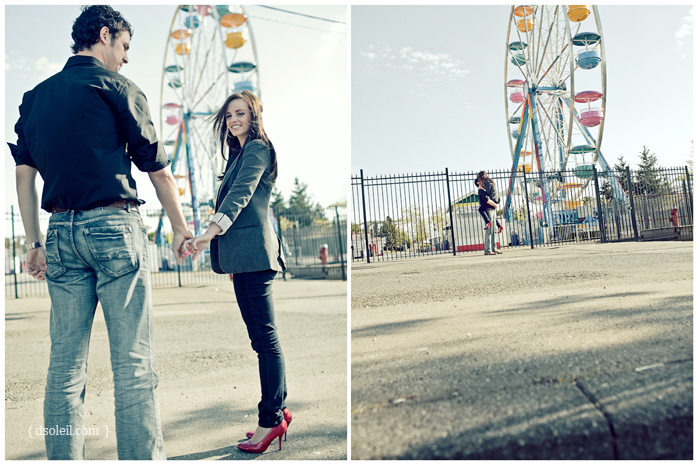 Engagement photo session at Playland