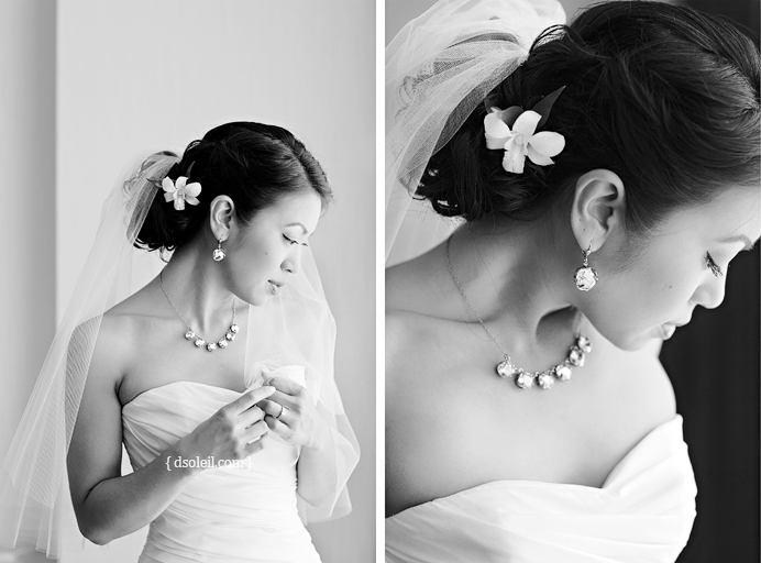 Bride getting ready before her wedding at Cecil Green Vancouver