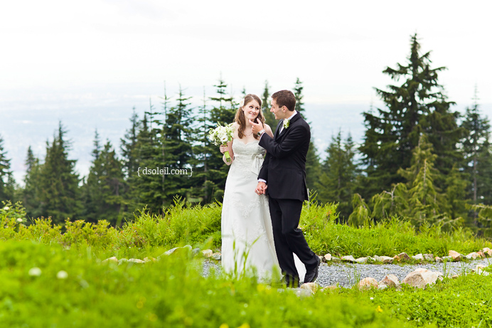 Taking a hike on Grouse Mountain after the wedding ceremony