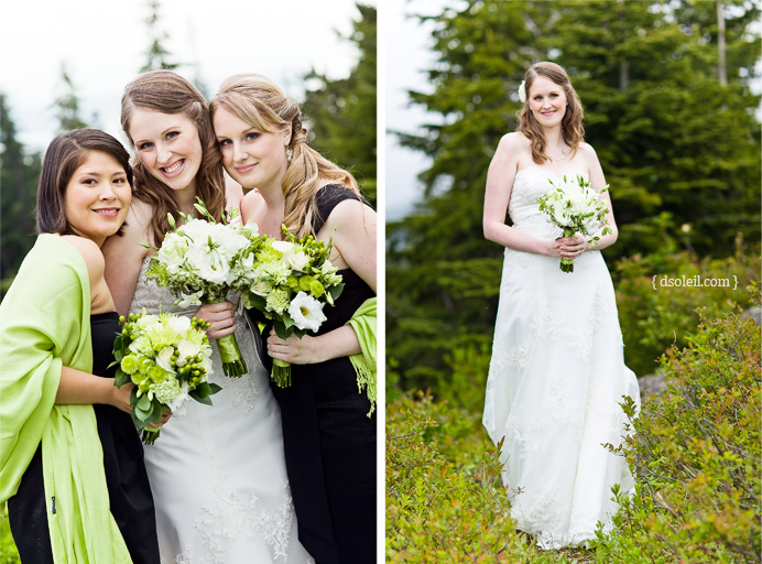 Laura and her bridesmaids at her Grouse Mountain wedding