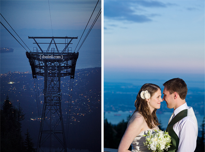 An perfect evening for a wedding reception on Grouse Mountain