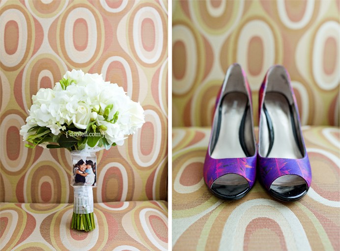 Detail photos of shoes and wedding bouquet