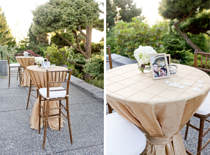 Outdoor reception table decorations