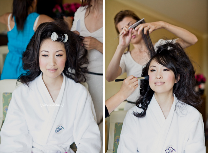 Getting ready at Fairmount Waterfront Hotel before the wedding