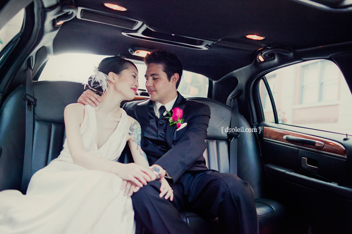 Photos in the wedding limo as we drive around Yaletown