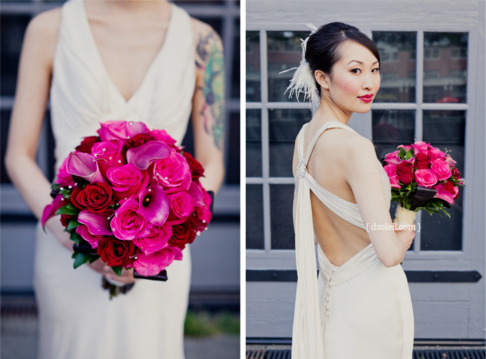 Bridal portrait at the Roundhouse in Yaletown