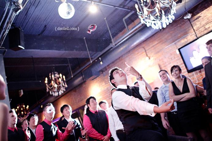 Garter toss at Brix wedding in Vancouver