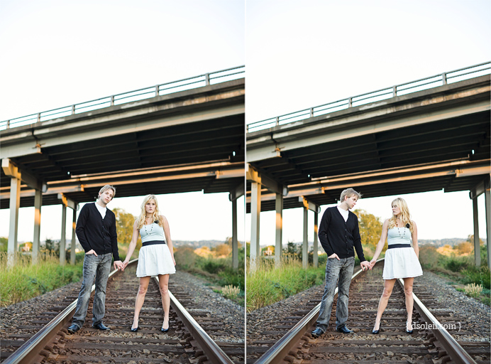 Engagement session along the train tracks