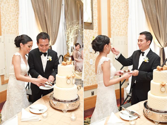 Cake cutting at the Marriott Pinnacle Vancouver wedding