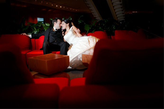 Bride and groom at the Fairmount Pacific Rim Hotel in Vancouver