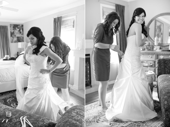 Bride Marlen getting dressed before the wedding