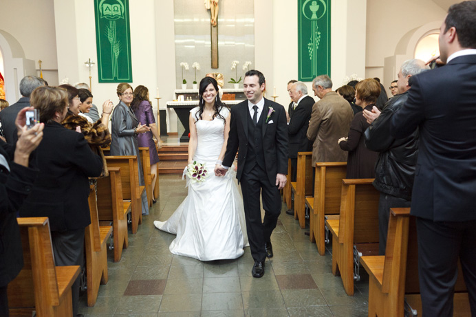Recessional at their wedding ceremony at Our Lady of Fatima Portuguese Parish