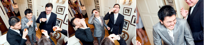 Groomsmen playing door games before seeing bride