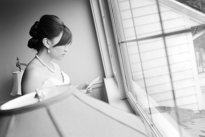Bride preparing vows at Rowena's Inn