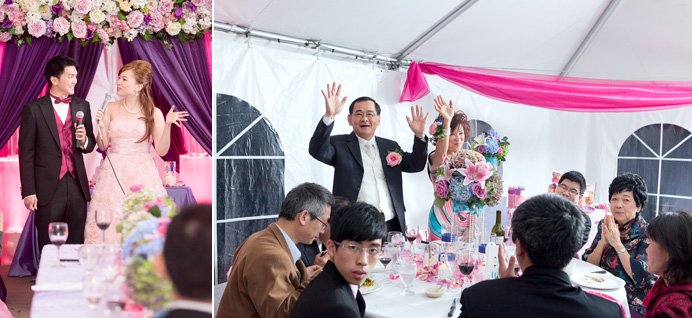 Speeches during wedding reception in a tent
