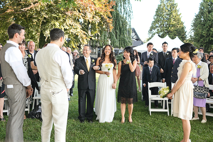 Wedding ceremony outside Brock House