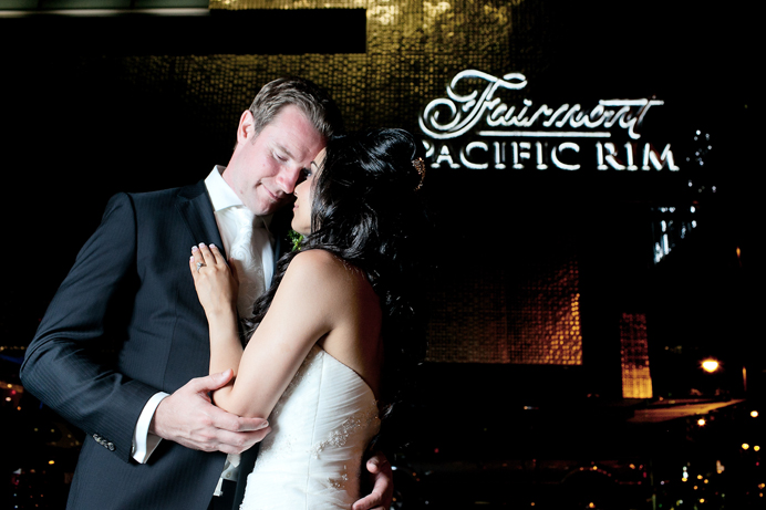 Outside the Fairmont Pacific Rim hotel wedding
