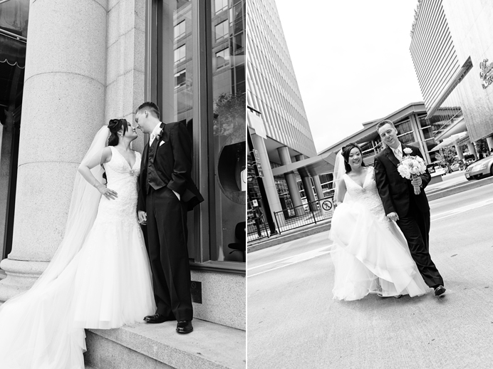 Bride and groom near Fairmont Pacific Rim Hotel