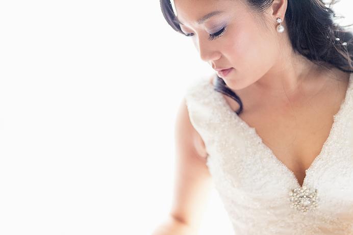 Bride getting ready portrait before Four Season Hotel Wedding