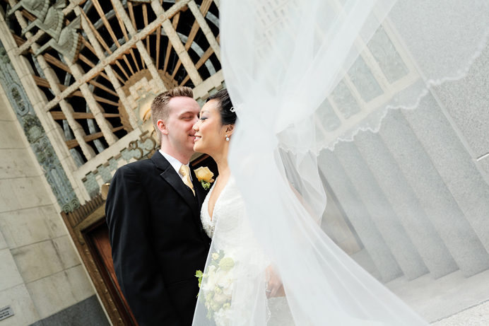 Wedding portrait in front of the Marine Building