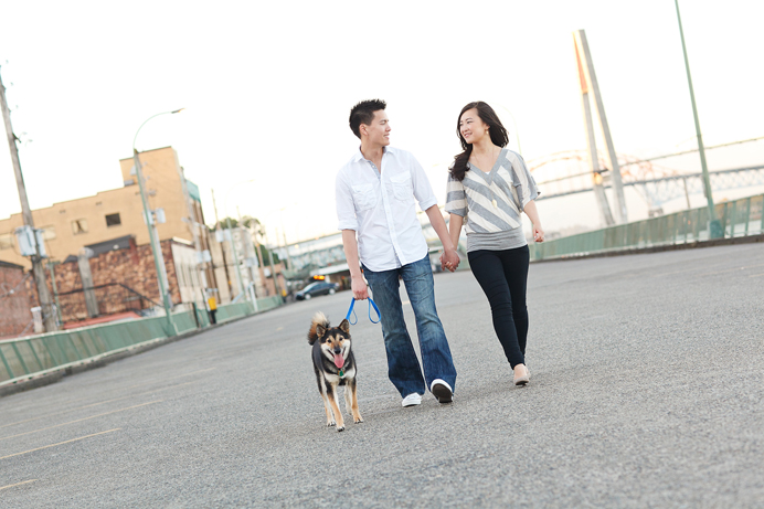 Engagement session with their dog