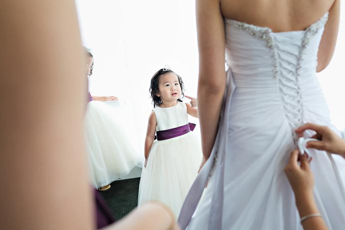 Flower girl at Westin Wall Centre wedding