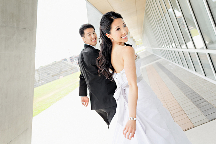 Bride and groom leave for wedding reception at Westin Wall Centre Airport