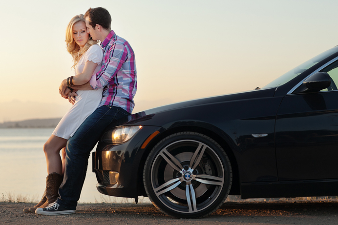 couples photo session on a BMW