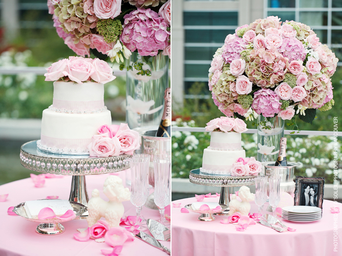 Pink cake table at Law Courts Inn wedding