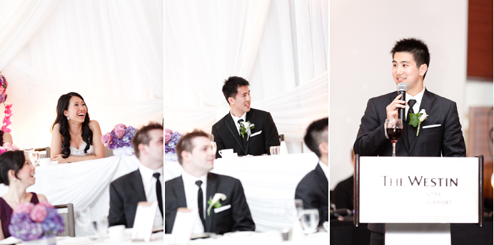 Wedding speeches at the Westin Wall Centre Vancouver Airport