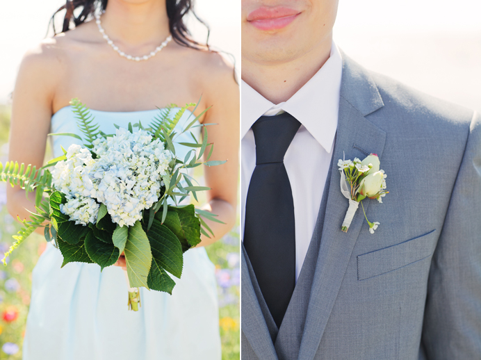 wedding bouquet and groomsmen boutonniere