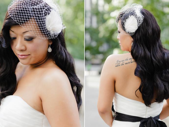 Vintage bridal details birdcage veil