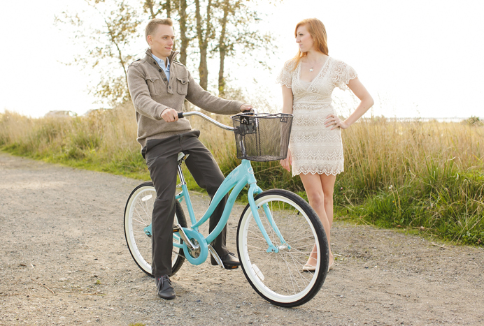 Vintage bicycle for two engagement session in Vancouver