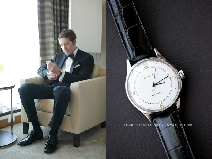Fairmont Pacific Rim Hotel Groom putting on his watch before wedding