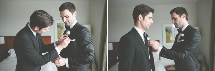 Groom getting ready at the Westin Bayshore Hotel