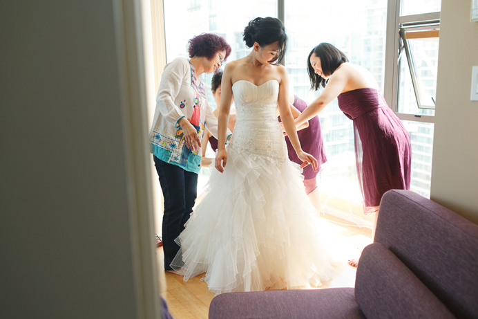 Bride getting ready before Vancouver wedding