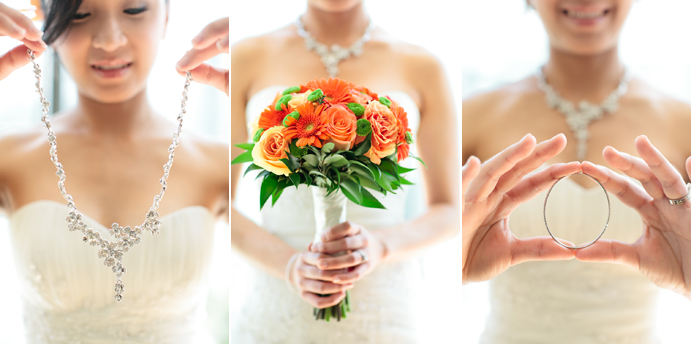 Bridal jewellery and flower bouquet