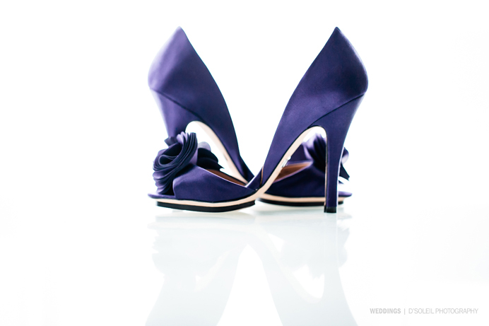 Purple wedding high heel shoes