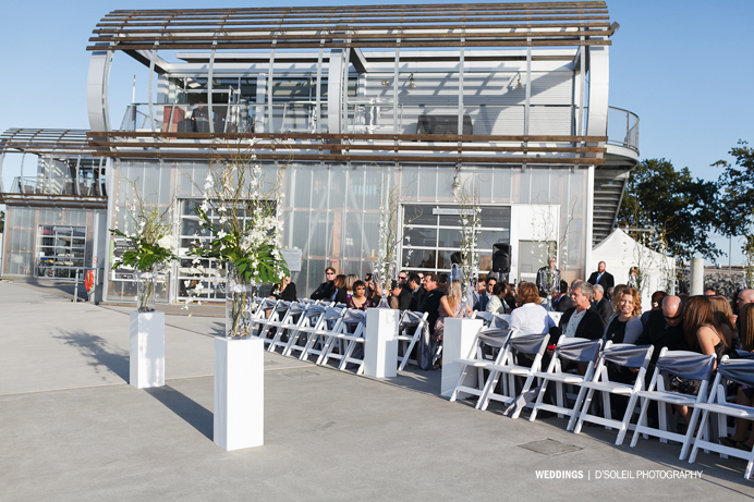 UBC Boathouse wedding ceremony outside deck