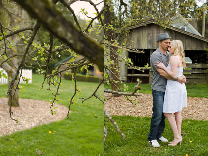 Wedding engagement by the farm barn