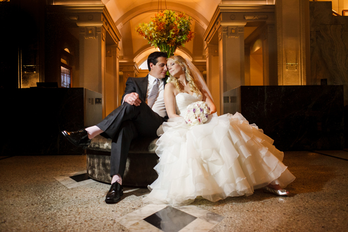 bride and groom at the Vancouver Club