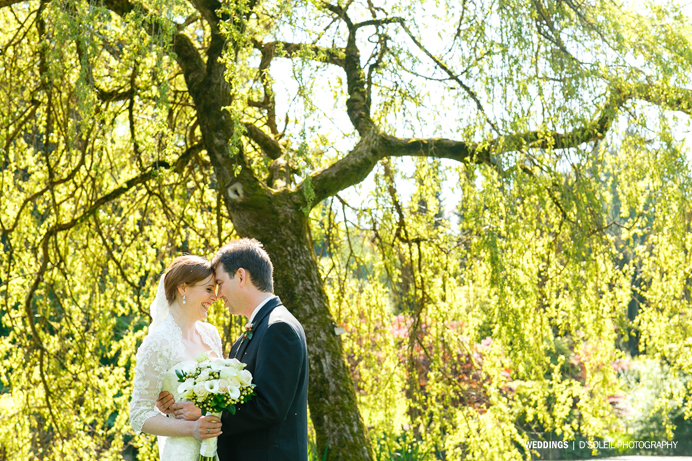 Vandusen Garden pond wedding