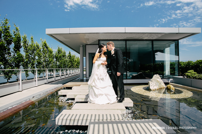 Wedding first look at the Fairmont Pacific Rim Vancouver