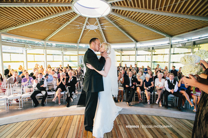 Celebration pavilion wedding ceremony kiss