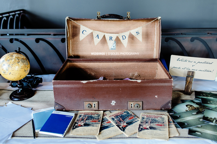 Vintage modern wedding decor travel theme
