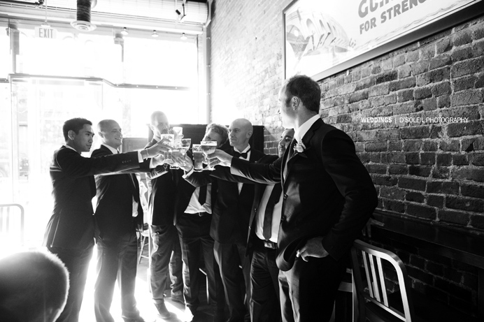 Gastown wedding with groomsmen