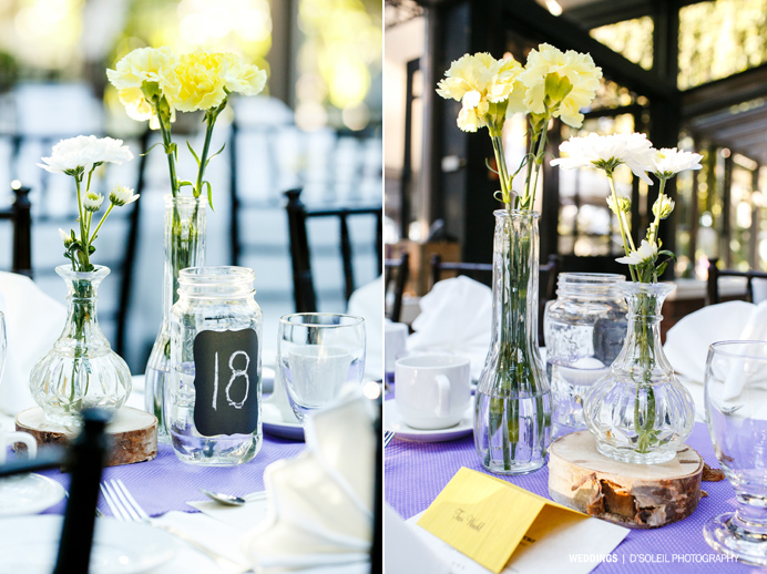 Rustic wedding decor yellow